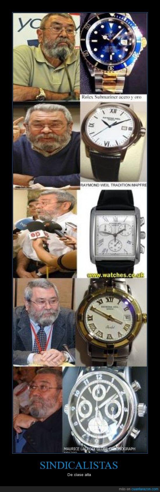 25000 euros,cinco relojes,estado,pagados,sindicalistas
