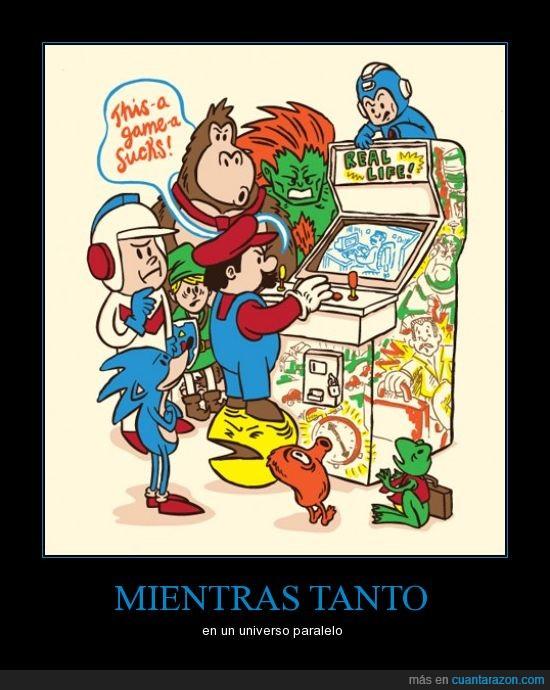 donkey,link,mario bros,megaman,pacman,paralelo,sonic,street fighter,universo,videojuegos,zelda