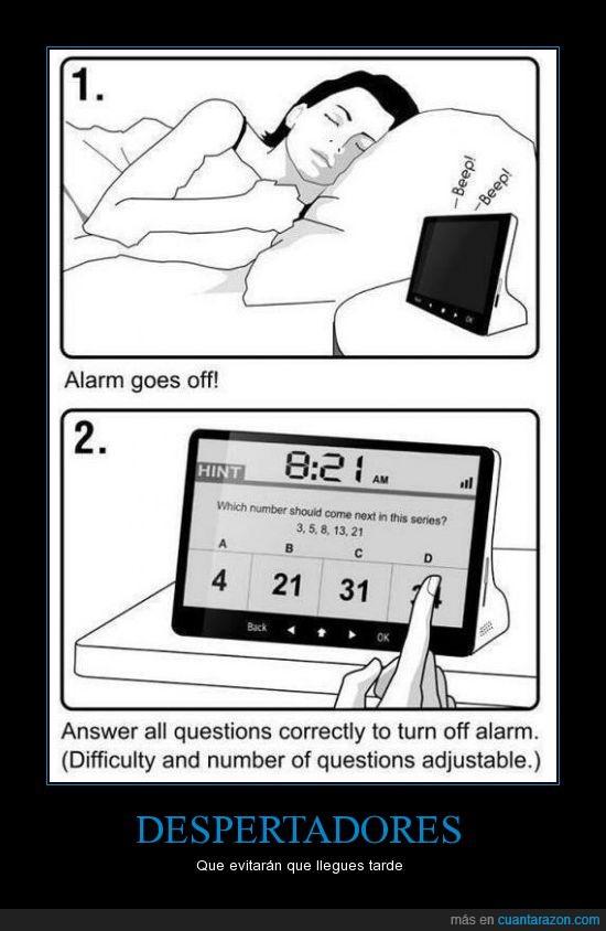 despertadores,llegar tarde,matemáticas,operaciones,resolver,solución