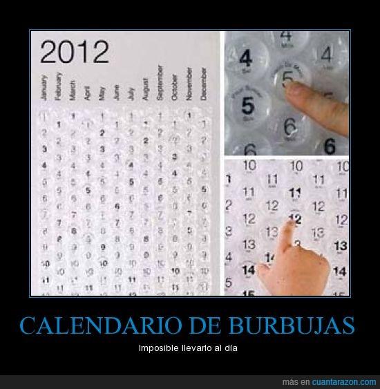 burbujas,calendario,plastico
