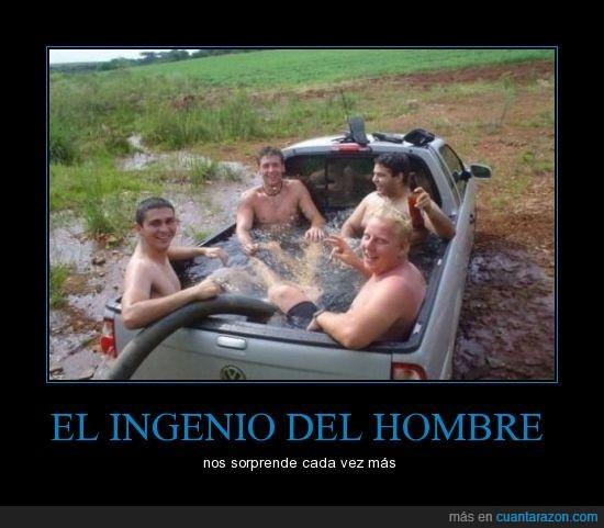 coche,furgoneta,hombre,ingenio,piscina