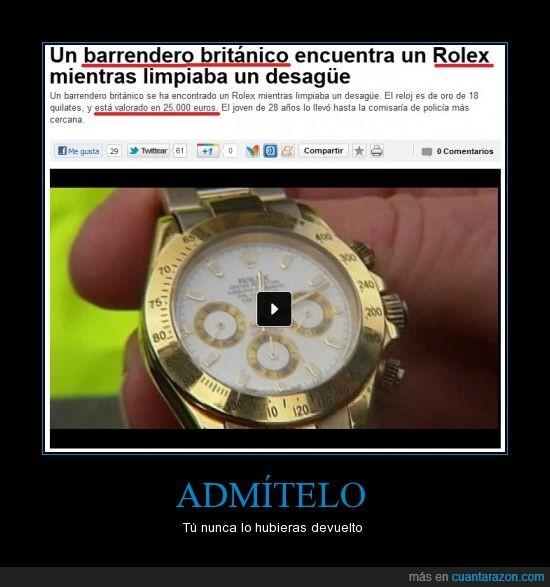devolver,dinero,euros,noticia,oro,policía,reloj,rolex