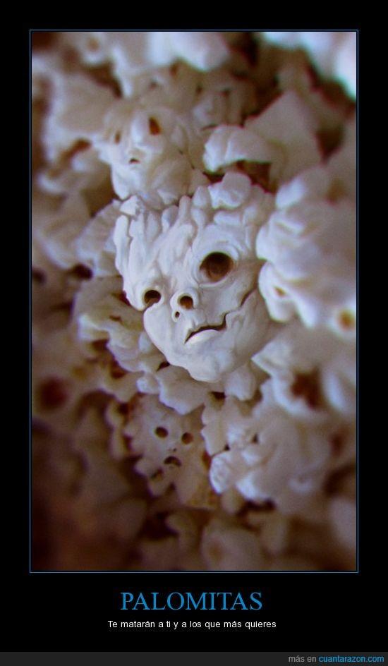 cara,cráneo,miedo,palomitas,popcorn,soy demasiado joven para morir,terror