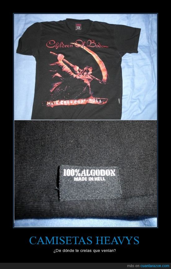 algodón,camiseta,children of bodom,heavy,hell,infierno