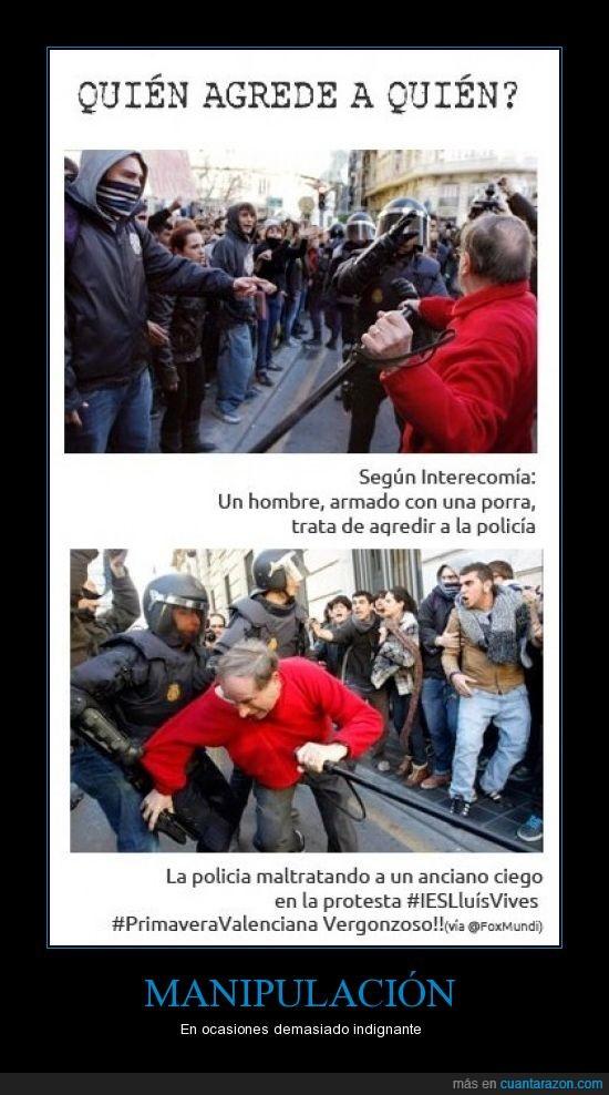 agresión,anciano,antidisturbios,ciego,comunicación,estudiantes,manipulación,medios,policía,porras,primavera,valenciana