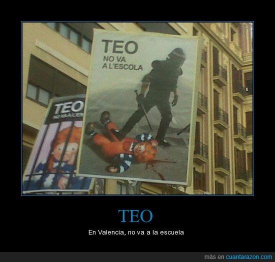 antidisturbios,escuela,huelga,manifestación,policía,primavera valenciana,Teo,Valencia