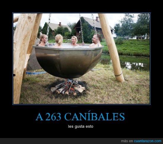agua,baño,calor,canibales,columpio,frío,fuego,humanos,sauna,sopa