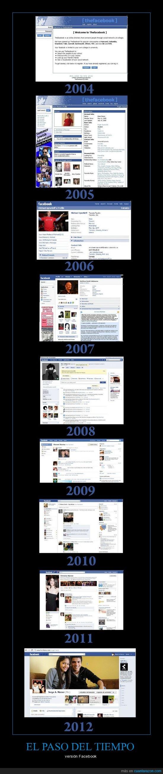 años,diferencia,evolución,facebook,muro,pasado,tiempo,versión
