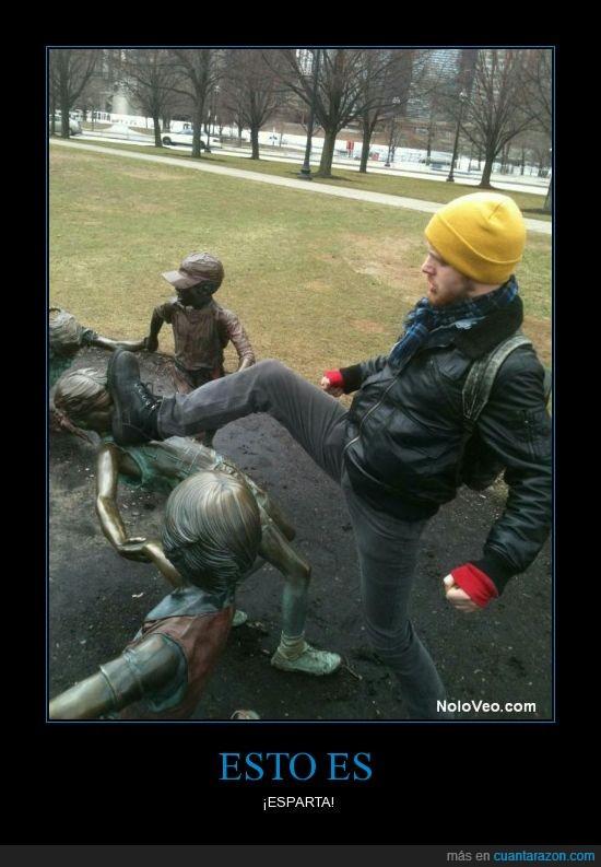 cara,estatua,niña,patada,sparta