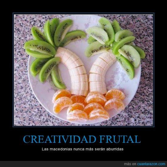 creatividad,kiwi,mandarina,platano