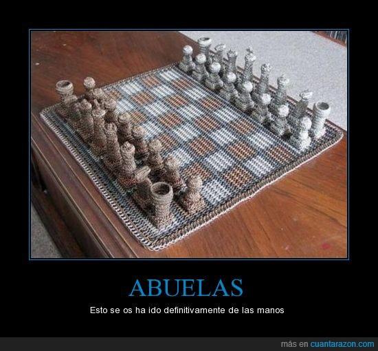abuela,ajedrez,mano,punto,tejer