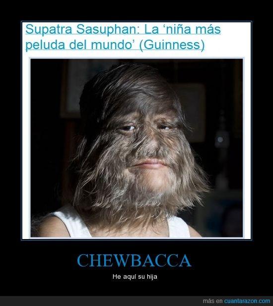 asco,cara,Chewbacca,hija,mas,niña,pelos,peluda