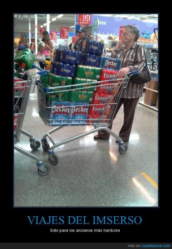 abuela,becker,botella,carro,cerveza,espera,gente,imserso,lugar,supermercado