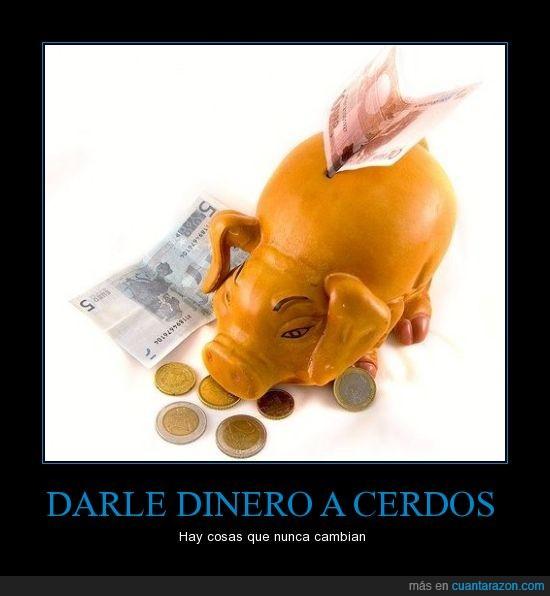 bancos,banqueros,cerdos,crisis,dinero,hucha