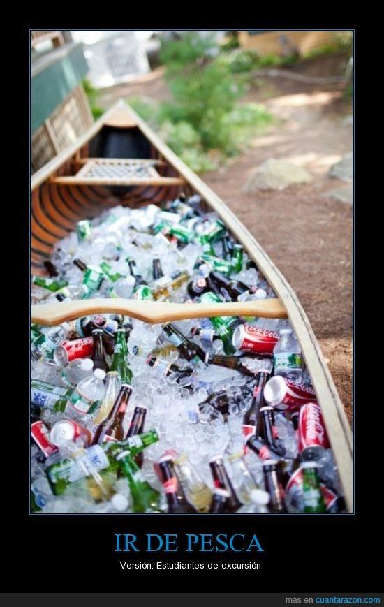 cañas pero de las otras,cerveza,estudiantes,hielo,latas,pesca