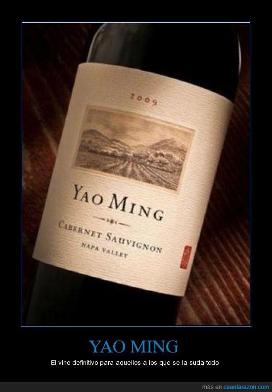 botella,cabernet sauvignon,etiqueta,meme,vino,yao ming