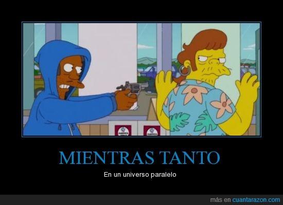 Apu,atraco,mundo al revés,pistola,Simpsons,Snake,univerlo paralelo