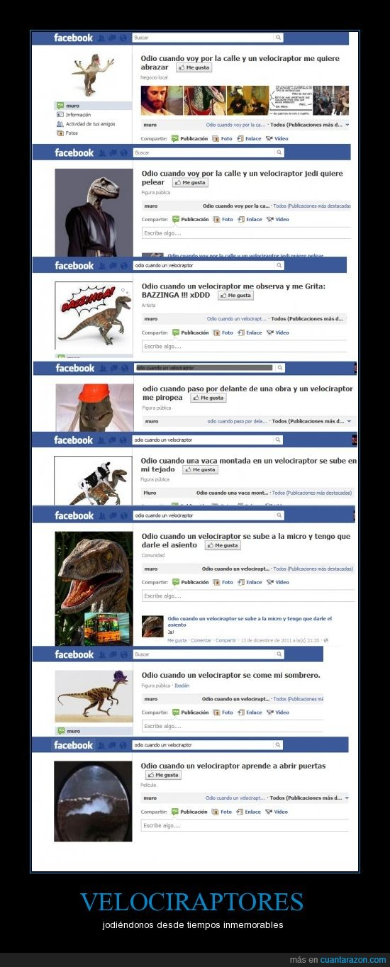 facebook,grupos,odio cuando,recopilación,velociraptores