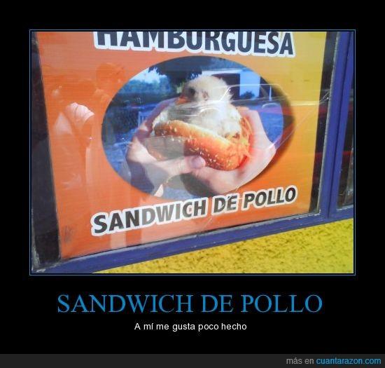 bocata,cartel,literal,pollo,sandwich,vivo