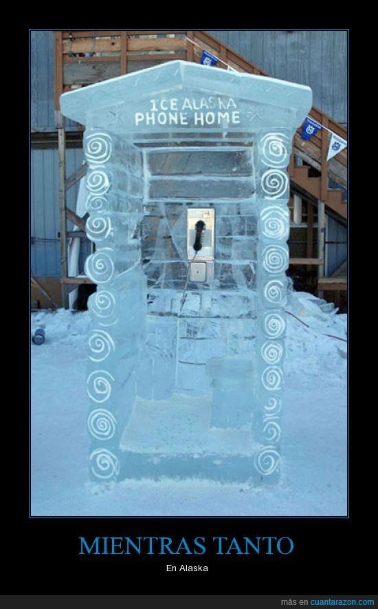 Alaska,cabina,frío,hielo,teléfono