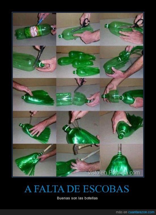 botellas,escobas,reciclaje