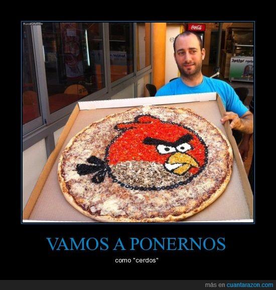 a comer,angry birds,mola,pájaro rojo,pito,pizza