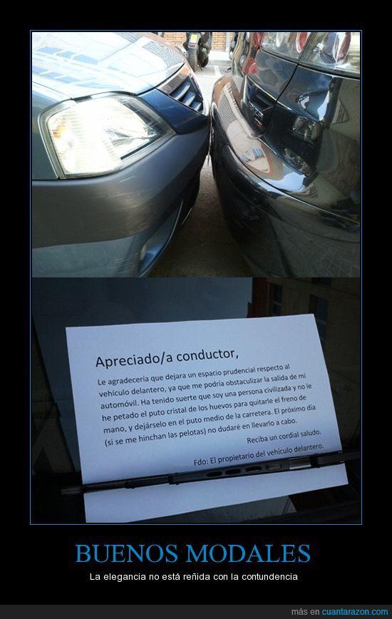 aparcamiento,coche,en el fondo se caga en tus muertos,feel like a sir,nota,vehiculo