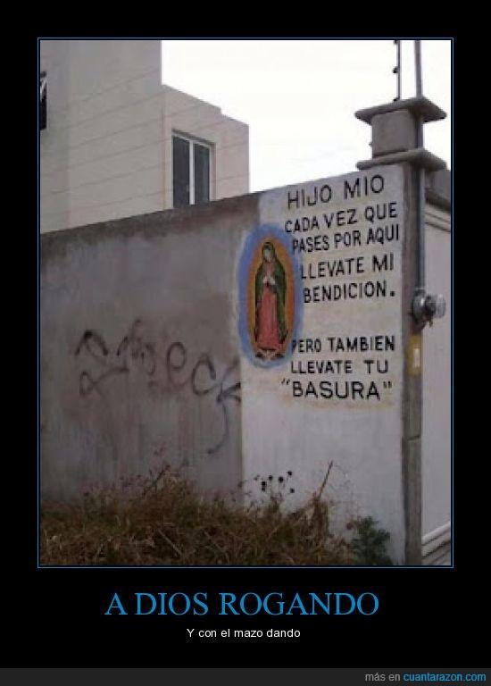 basura,dios,pared,virgen