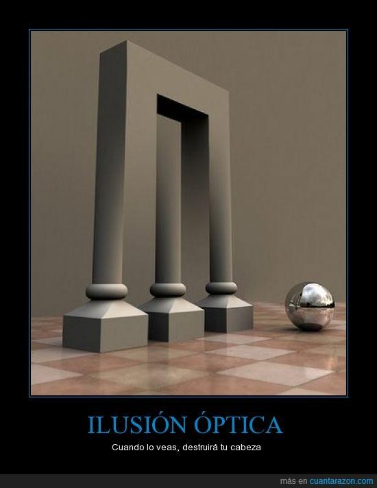 barra,bola,cabeza,columna,destruir,ilusión óptica,sombra