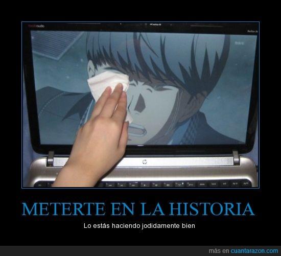 anime,llorar,manga,pañuelo,portátil