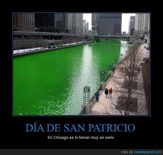 Chicago,EUA,río,San Patricio,verde
