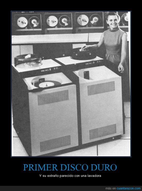disco,duro,es gigante,grande,historia,lavadora,primer