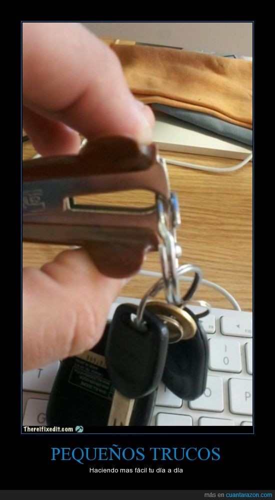 abrir,anilla,aro,grapa,llave,llavero,sacagrapas,truco