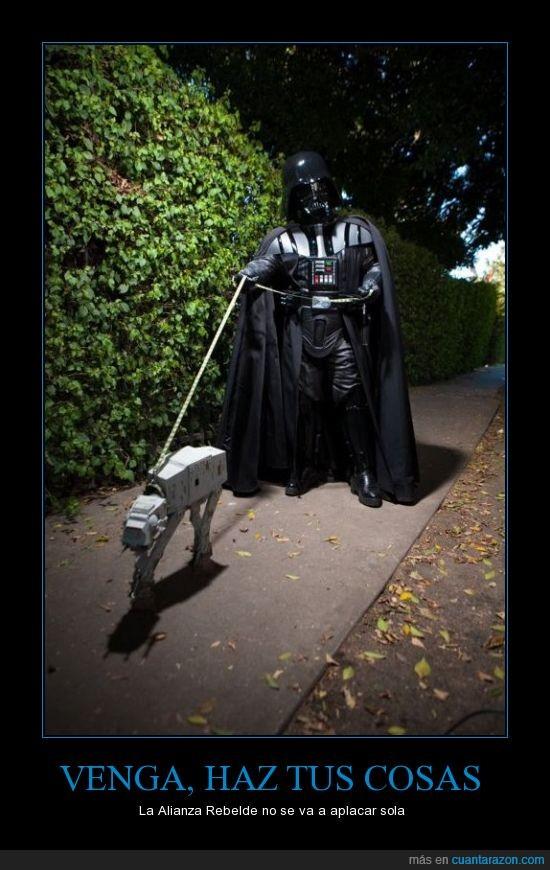 alianza,at at,caga de una vez,darth vader,pasear,paseo,perro,star wars