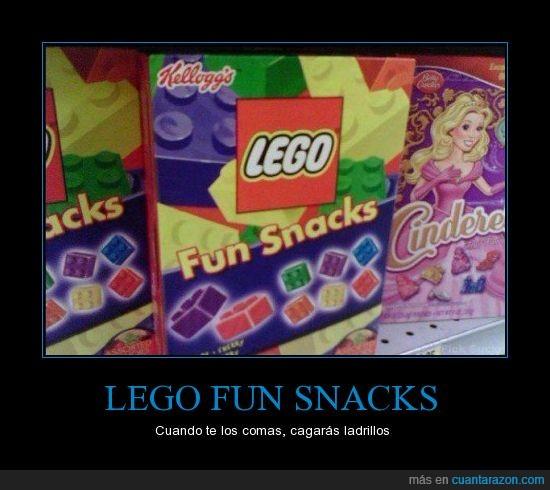 cagar,chuches,cuidado no los pises,gominolas,ladrillos,lego fun snacks