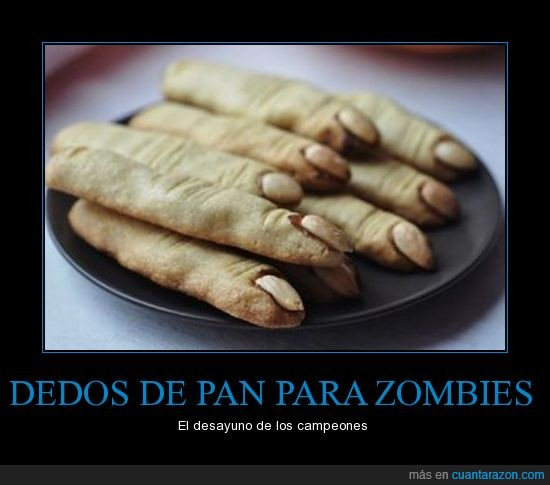 almendra,dedo,desayuno,pan,uña,zombie
