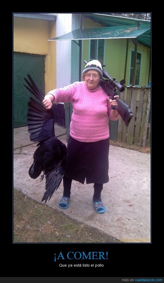abuela,cazar,comer,comida,cuervo,francotirador,pollo,sniper