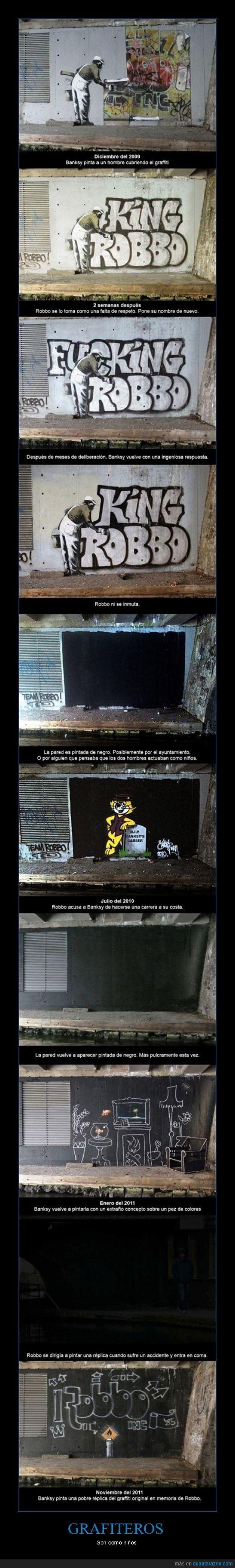 bansky,Graffiti,Grafiti,Guerra de Graffitis,Niños,pared,robbo
