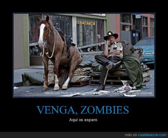 caballo,dead,esperar,rick,sentado,walking,zombies