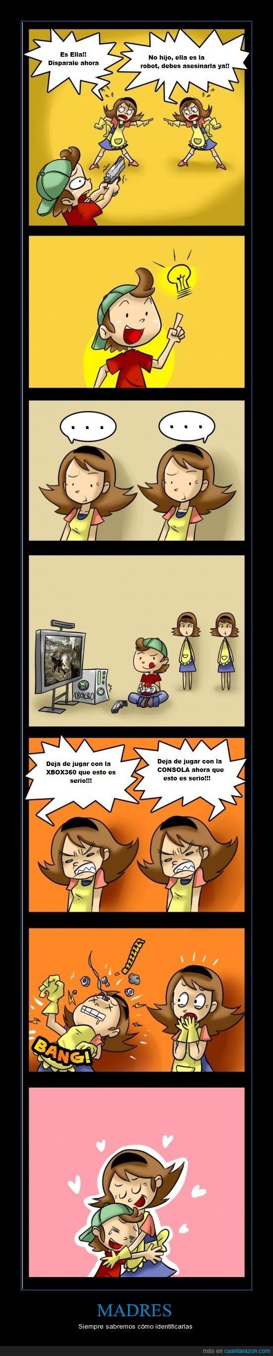 comic,consola,madre,niño,reconocer,robot,xbox