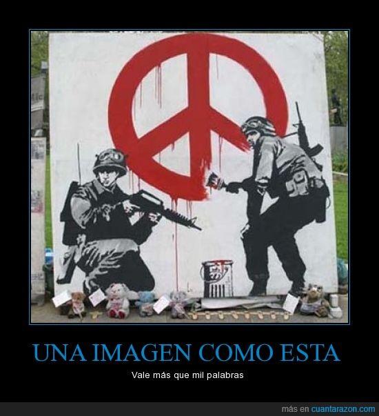 arte,banksy,graffiti,guerra,paz,politicos,soldados