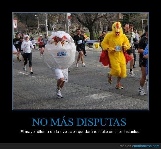 carrera,disfraz,gallina,Huevo,maratón,pregunta,¿el huevo o la gallina?