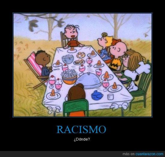 comida,mesa,negro,racismo,snoopy