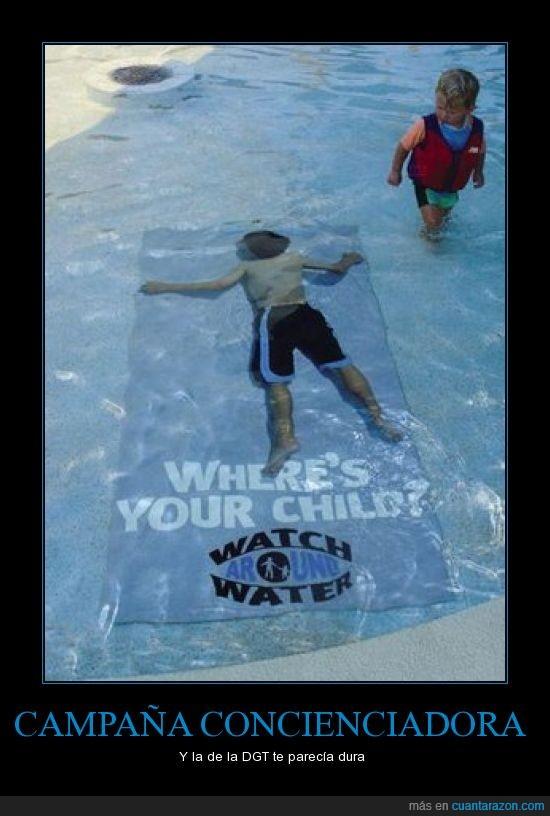 ahogarse,campaña,niño,piscina