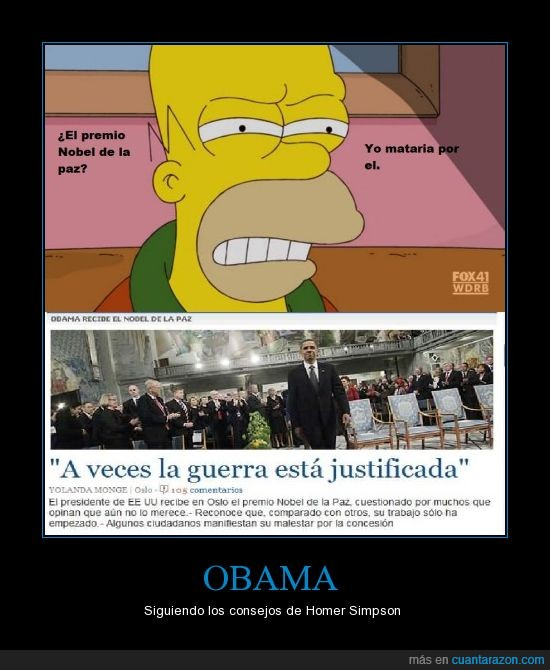 Homer Simpson,obama,premio nobel de la paz