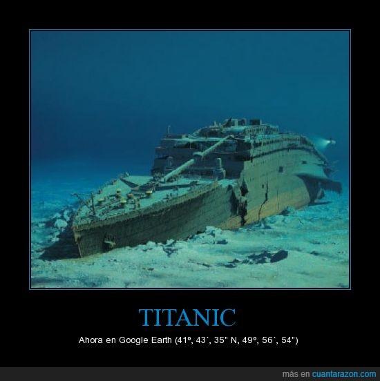 agua,centenario,coordenadas,google,hundido,mar,naufragio,Titanic