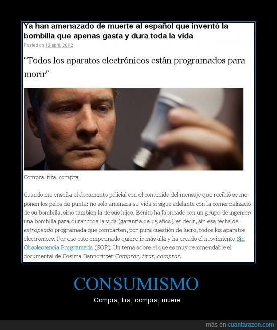 amenazas,bombillos,consumismo,español,focos