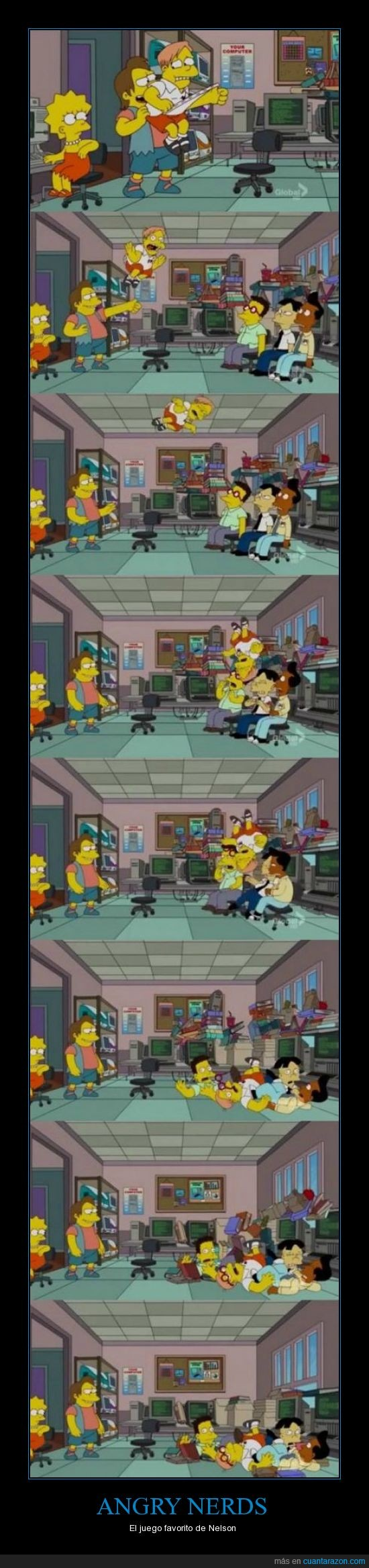 angry birds,Angry Nerds,empollon,juego,Los Simpson,martin,Nelson