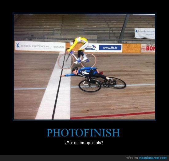 bicicleta,fotofinish,ganar,mano