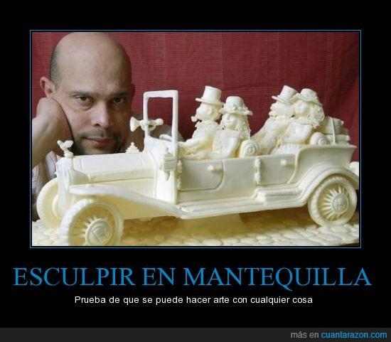 calvo,coche,escultura,mantequilla,vintage